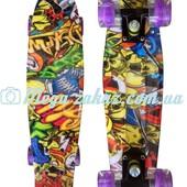 Скейтборд/скейт пенни борд (Penny Board) happy print collection: Comics, светящиеся колеса