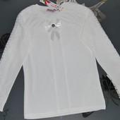 Школьная блузка кофточка реглан кружева 11-12 лет длинный рукав