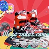 Ролики раздвижные с шлемом и комплектом защиты Swift, красный: 31-35, 34-38 размер, мягкие PU колеса