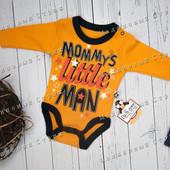 Бодик на мальчика, 56 62 размер, оранжевый, длинный рукав, боди, 1 3 месяцев, Турция