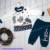 Костюмчик на мальчика, 68 74 80 размер, Том и Джерри, штаны реглан кофта, спортивный 6 9 12  месяцев