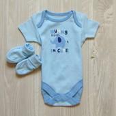 Новый комплект для новворожденного: бодик + пинетки. George. Размер 0-1 месяц