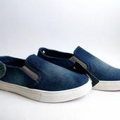 Стильные подростковые джинсовые мокасины-слипоны 36-41 р.