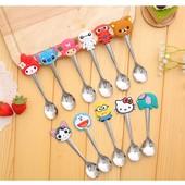 Ложка детская с героями мультфильмов Миньон, Hello Kitty, Стич, слоник, зайчик, котик.