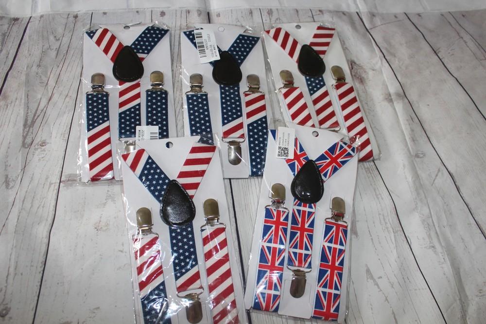 Подтяжки британский и американский флаг фото №1