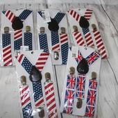 Подтяжки британский и американский флаг