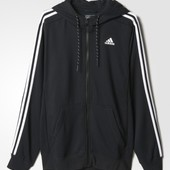 Джемпер Adidas sport essentials 3-stripes fleece hoodie black оригинал