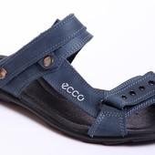 Шлепанцы-босоножки кожаные ECCO синие
