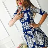 Милые летние платья в яркие орнаменты!стрейч трикотаж!С и М электрик,черное