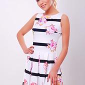 Цветы-полоска платье Мия