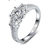Кольцо бриллиантовая огранка стерлинговое серебро 925