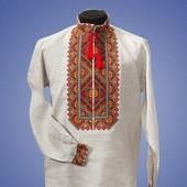 Оригинальная вышитая мужская сорочка вышиванка лен