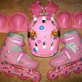 Детские раздвижные ролики 35-38 со шлемом и защитой!