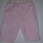 вельветовые штанишки с х.б подкладкой на принцессу 0-3 мес