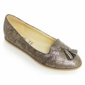 Туфли-балетки серебристого цвета