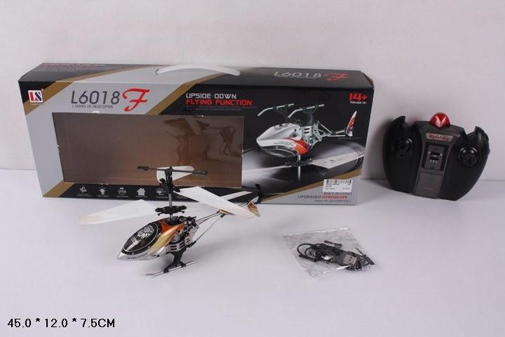 Вертолет на р.у 6018f с гироскопом,аккум.с usb,летает вверх тормашками 3цв.кор.45*12*7,5 фото №1