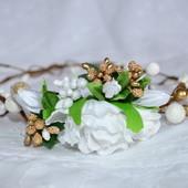 Нежный венок из лозы с белой розой (УП 7-9 грн)