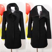 OW28003  Шикарное черное полушерстяное пальто с воротником-трансформером