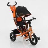 New! Детский трехколесный велосипед Best Trike 5555, черно-оранжевый