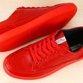 Код: 2244 Кеды мужские красные кожаные на шнурках