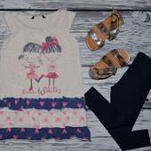 3 - 4 года 98 - 104 см Очень модная натуральная обалденная красивая футболка туника