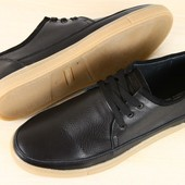 Кеды мужские синие ,черные кожаные на шнурках
