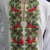 """Красивая мужская  вышиванка """"Калина в дубах"""", домокатное полотно, 42-56 Р-РЫ"""