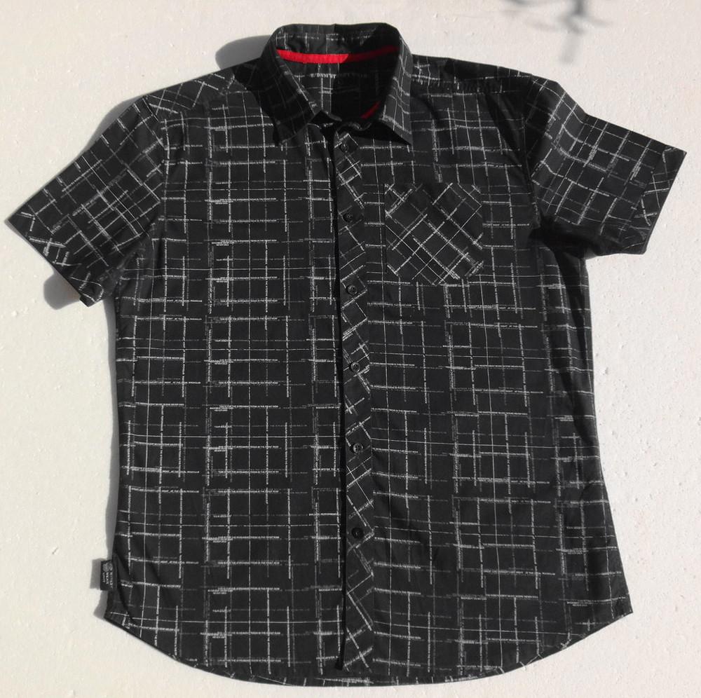 Хлопковая рубашка с буквенным принтом. Короткий рукав. фото №1