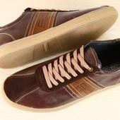 ***Кеды мужские коричневые ,синие кожаные на шнурках