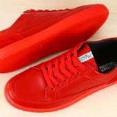 ***Кеды мужские красные кожаные на шнурках