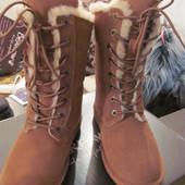 Bearpaw. Новые угги на шнурках. Полностью натуральные. На овчине.