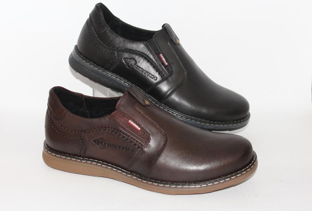 Мужские кожаные осенние туфли, 2 цвета фото №1