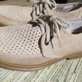 Льняные туфли-мокасины Clarks 40р-26 см
