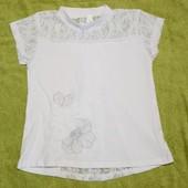 Блузка школьная с коротким рукавом и прозрачными плечами и спинкой
