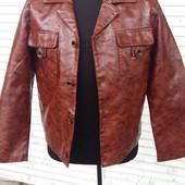 Стильная куртка-жакет из кожзама для мужчин коричневая. Р-ры 46-56. Распродажа!