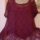 шикарный комплект :топ и кружевная блуза большой размер