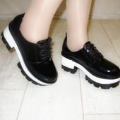 Туфли женские черные тракторная подошва Т613