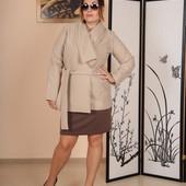 Женское кашемировое пальто с поясом 48-52