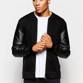 Стильная мужская кофта-куртка, бомпер с рукавами из кожзама