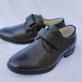 Туфли классические черные на мальчика на липучке, С750-7, ТМ