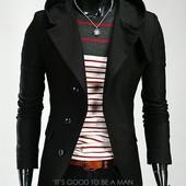 Пальто мужское из кашемира с капюшоном