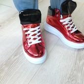 Ботинки зеркальные на толстой подошве R8521