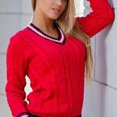 Новинки!!! Яркие теплые свитера( белый, красный, синий)