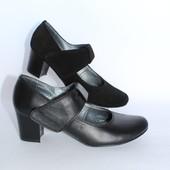 Женские туфли на небольшом каблучке, кожа и замша
