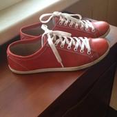 Красные кожаные кеды, натуральная кожа, 25 см стелька, 38,5-39 размер