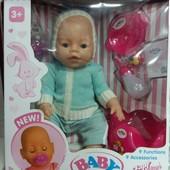 Кукла Беби Борн Baby Born Пупс закрываются глазки 2 соски, горшок,каша