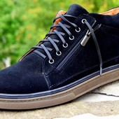 мужские кожаные/замшевые  ботинки деми/зима Код:М 335