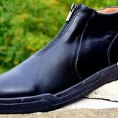 мужские кожаные ботинки деми/зима Код:М 342