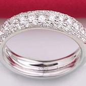 Кольцо покрытие белое золото с цирконами р 16 17 18 19
