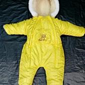 """Зимний комбинезон для новорожденных """"Желтый горошек"""""""